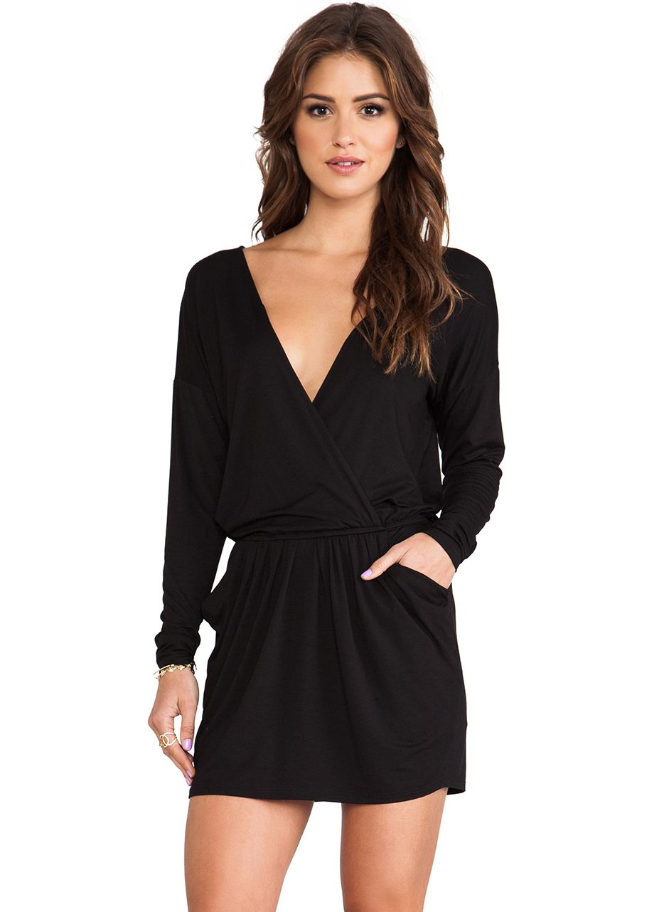 Black Long Sleeve V Neck Pockets Shift Dress 16.59