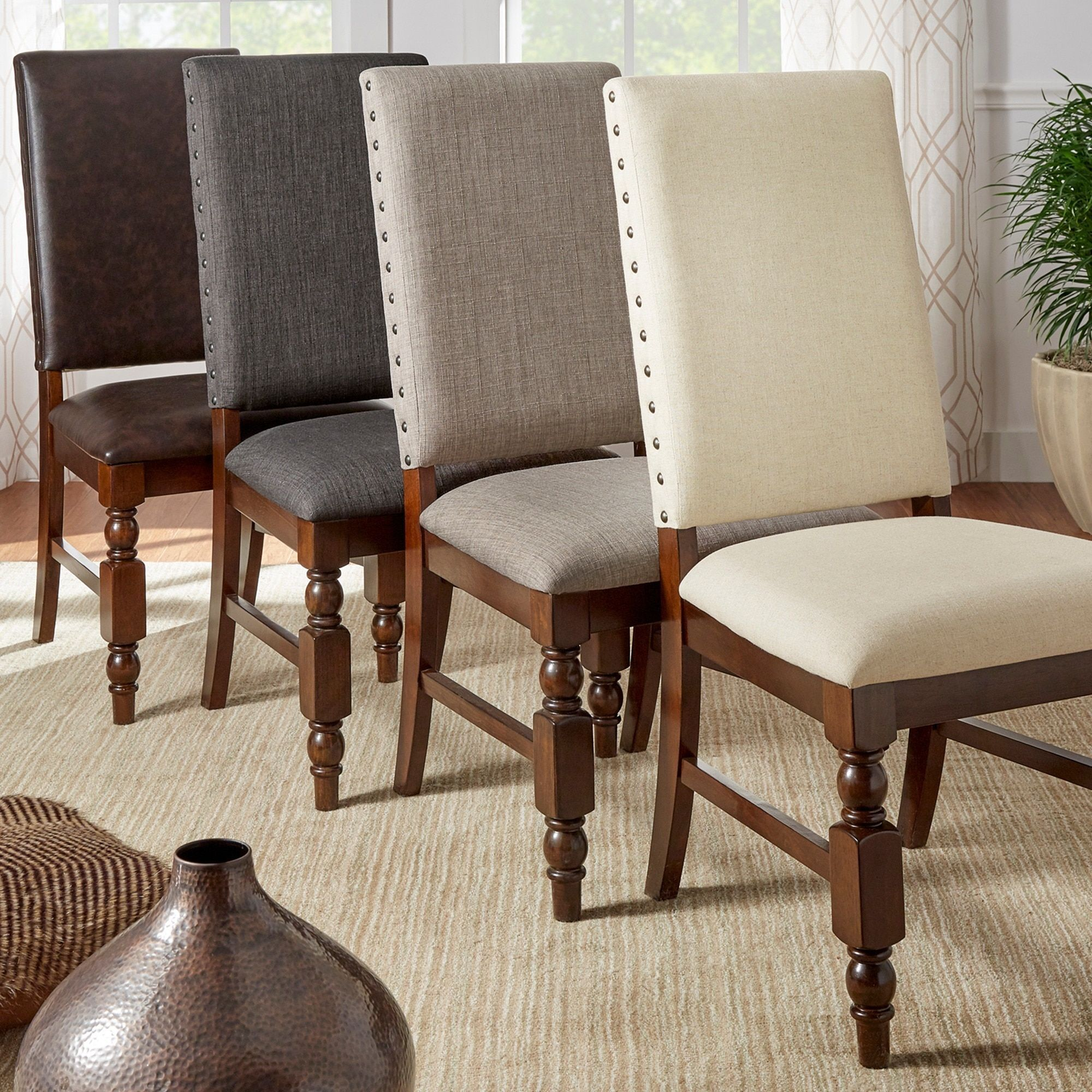 Astonishing Flatiron Nailhead Upholstered Dining Chairs By Tribecca Home Alphanode Cool Chair Designs And Ideas Alphanodeonline