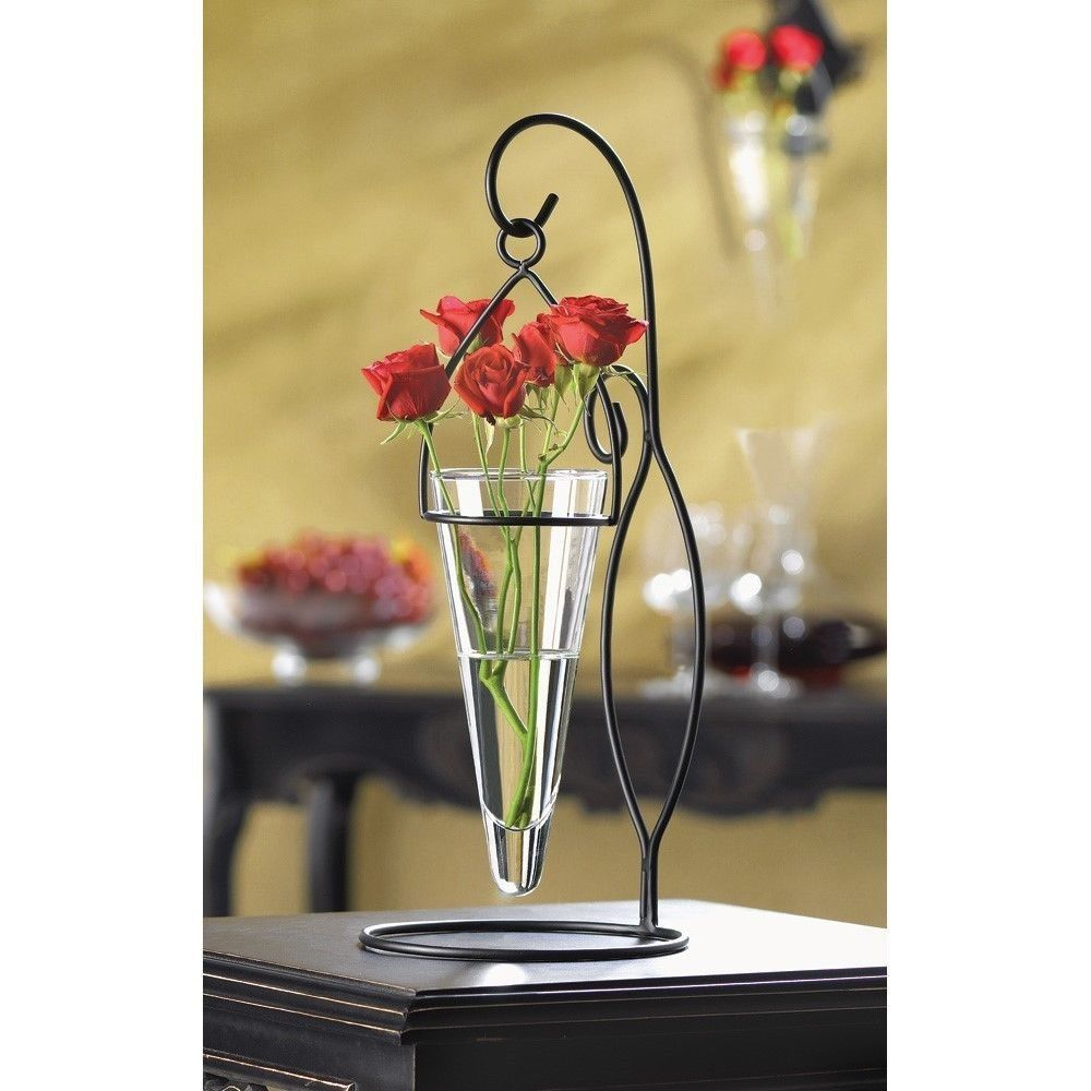 Elegant Black Metal Table Stand Clear Glass Cone Flower Vase Plant Rooter Hanger Hanging Glass Vase Glass Vases Wedding Hanging Vases