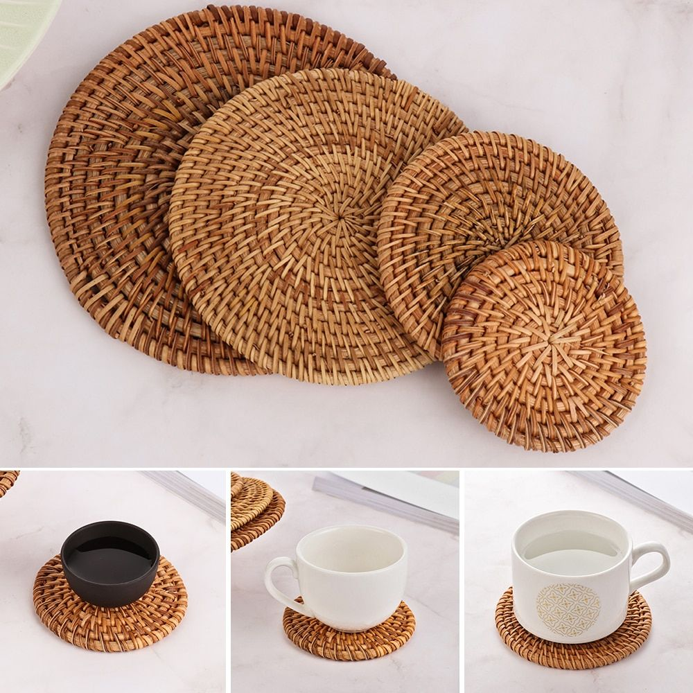 Cheap Mats Pads Buy Quality Home Garden Directly From China Suppliers 1pc Round Natural Rattan Coasters Bowl P Kitchen Accessories Decor Placemats Cup Mat