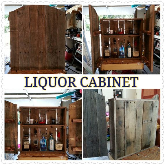 rustic recycled liquor cabinet made from wood by