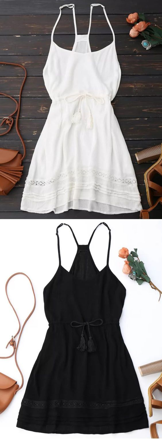 Spaghetti straps drawstring waist summer dress bohemian dresses