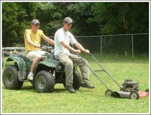 Red neck mowing