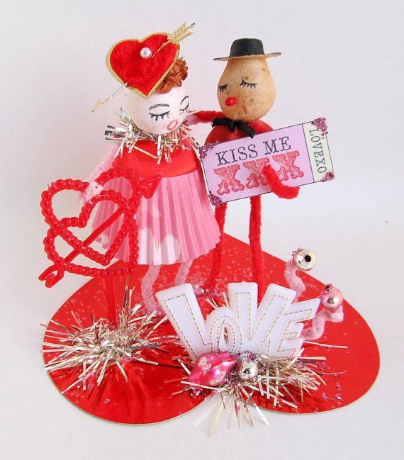 Vintage Valentines Day Couple in Love Valentines Day Decoration Spun Cotton Head