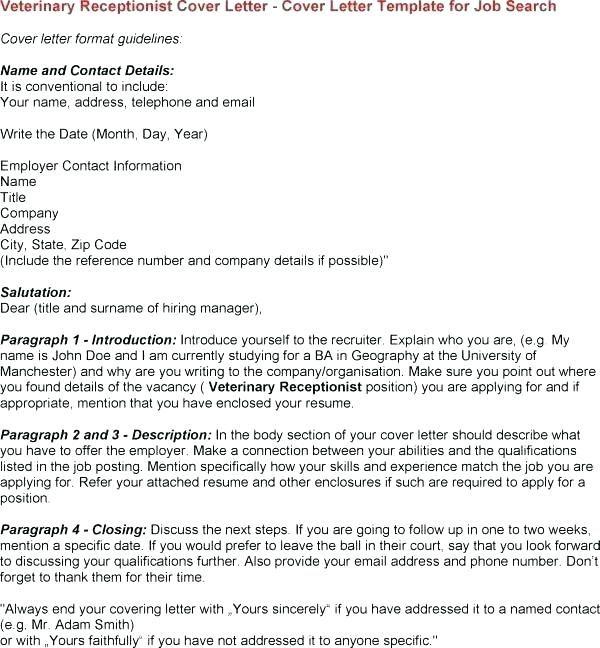 Cover Letter Template Veterinary Receptionist Coverlettertemplate Jpg 600x648
