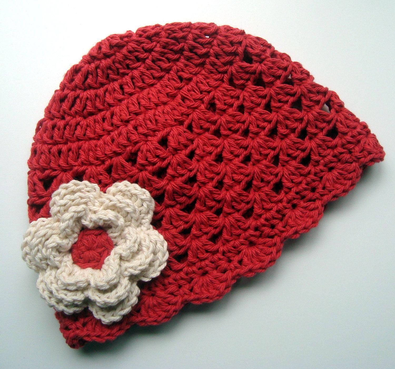 Girls Crochet Scalloped Baby Beanie HatCountry Red and by Karenisa, $18.00