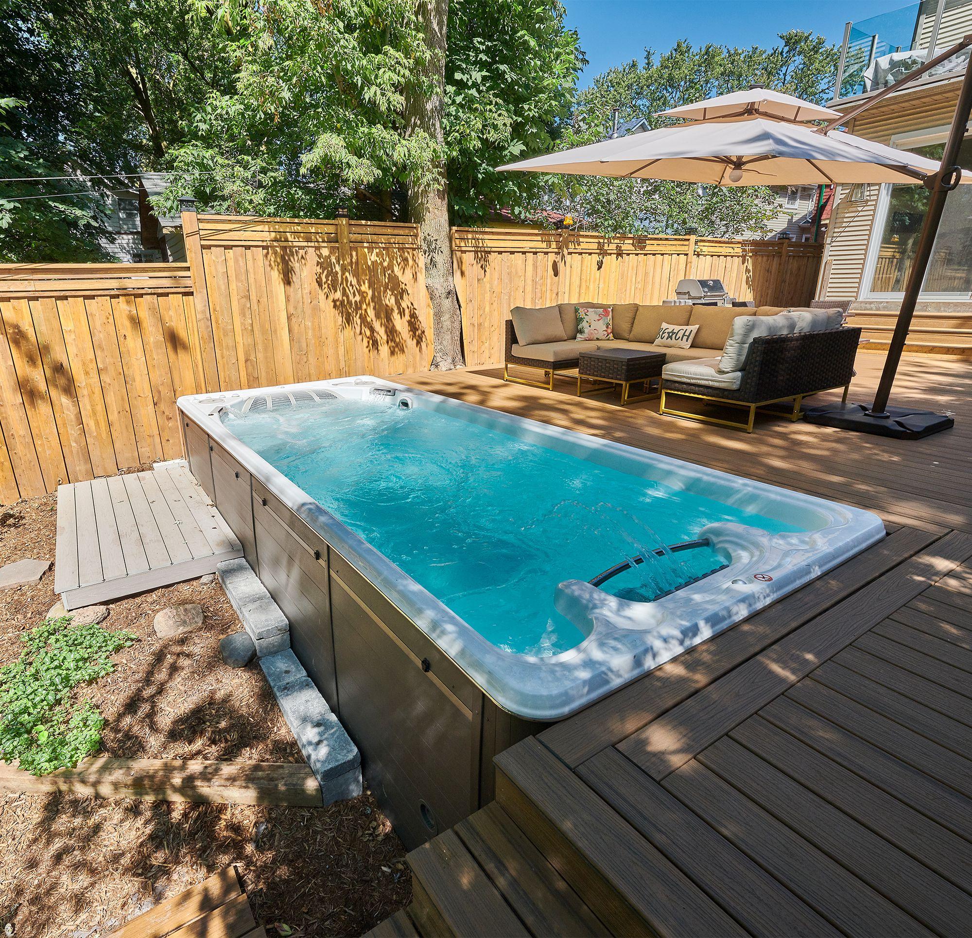 swim spa landscaping backyard pool