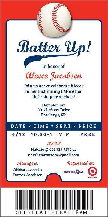 Baseball Ticket Invite For Baby Shower Https Www Facebook