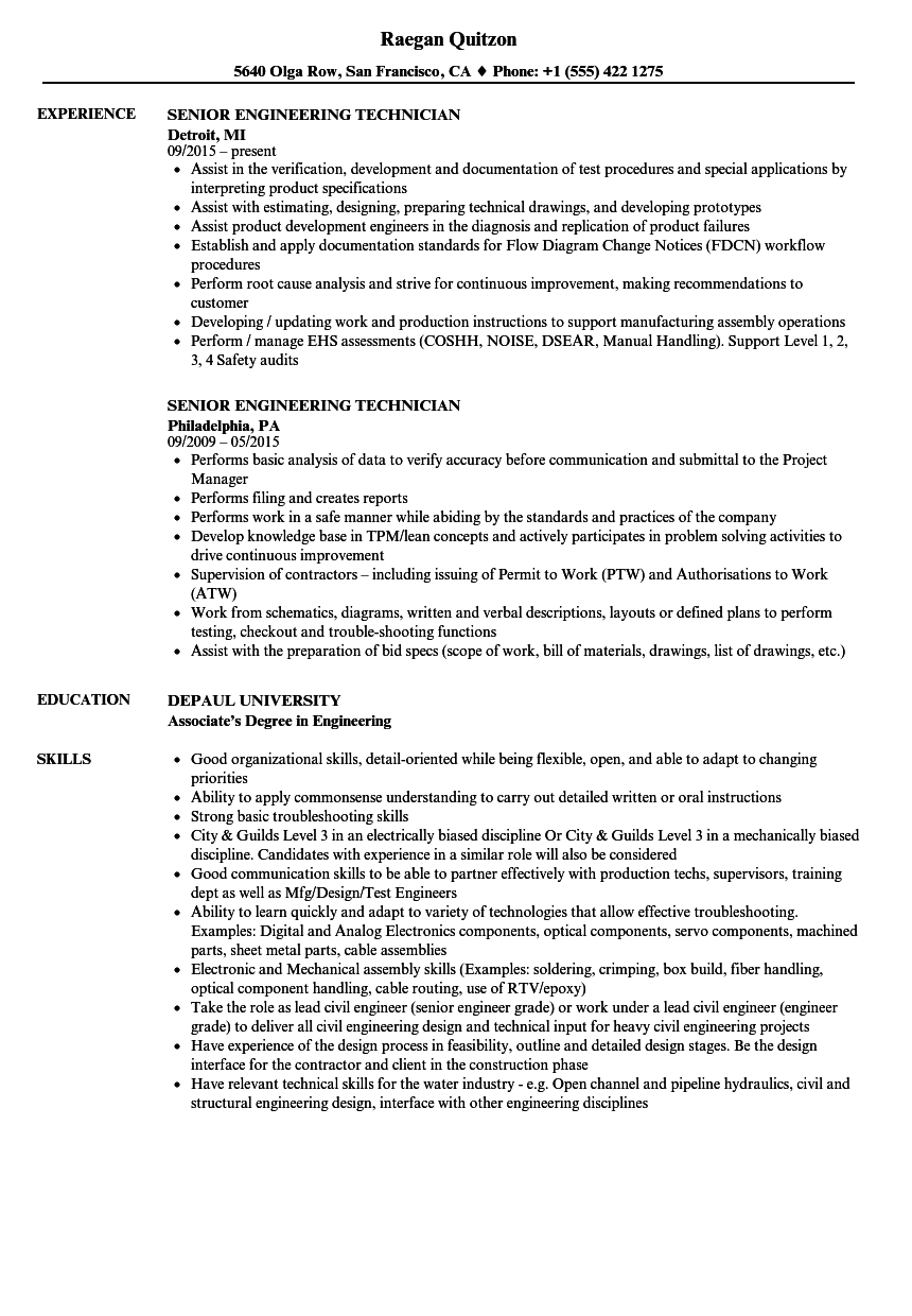 Engineer Technician Resume Example in 2020 Marketing
