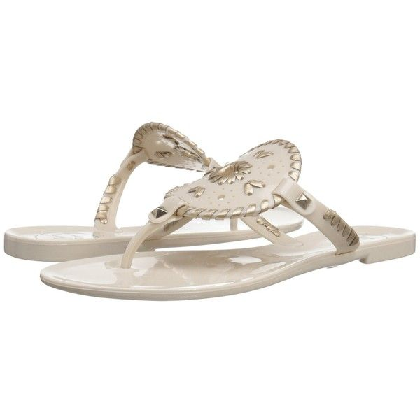 Jack Rogers Georgica Jelly (Bone/Gold) Women's Sandals ($49) ❤ liked
