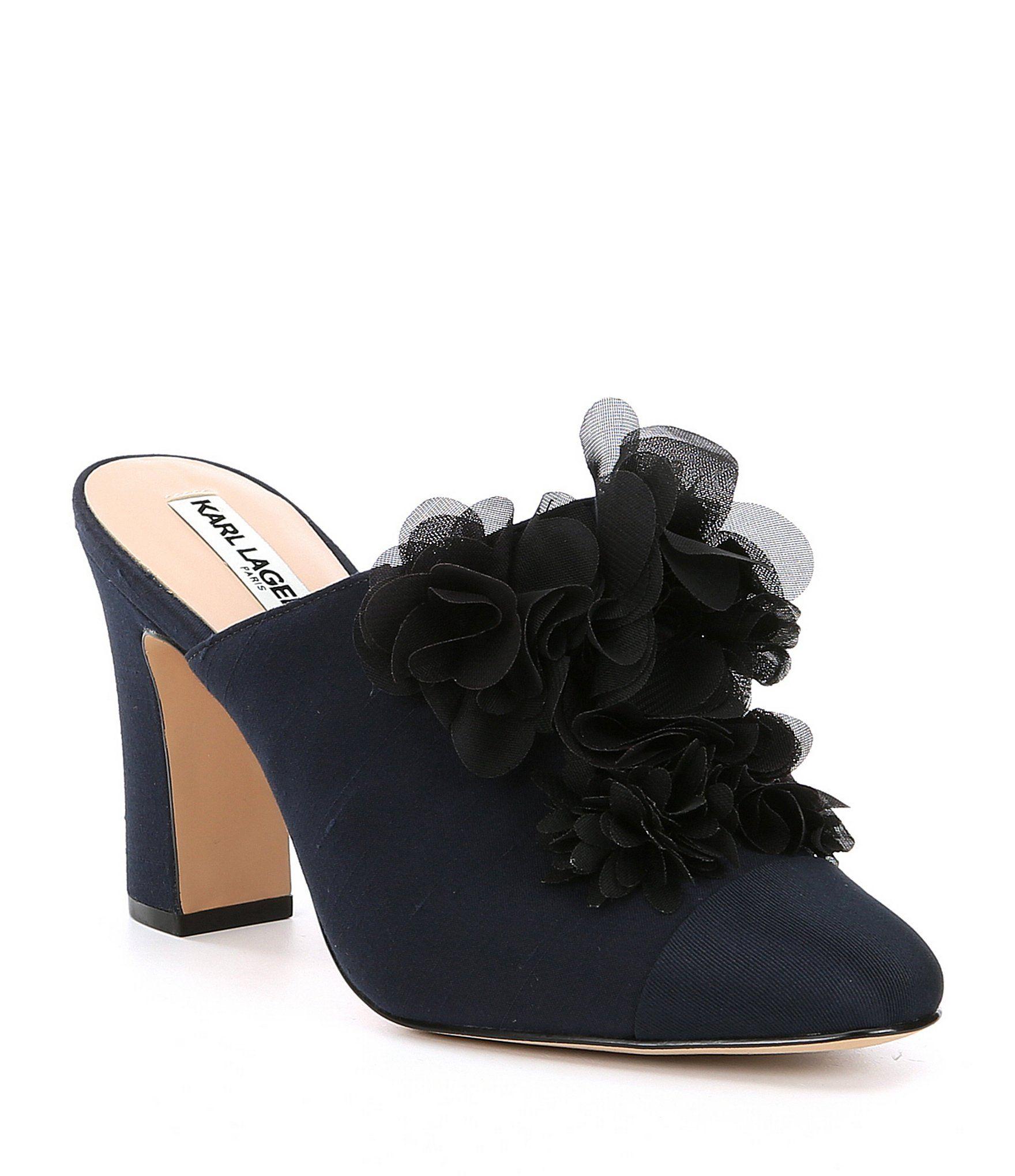 3ab5effe37fe KARL LAGERFELD PARIS Neva 2 Chiffon Flower Block Heel Mules  Dillards