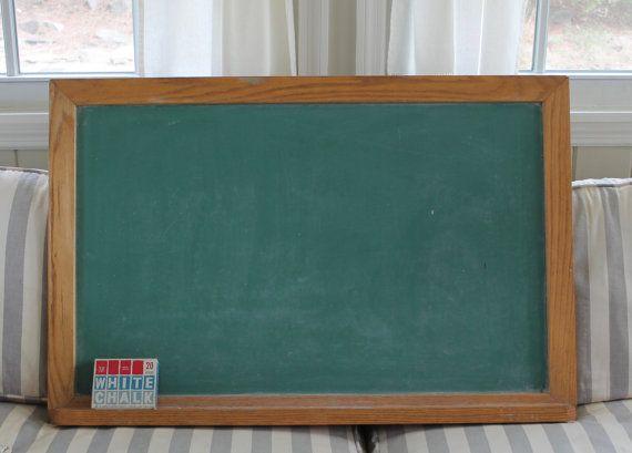 Vintage Green Slate Chalkboard // Large Oak Framed // 36\