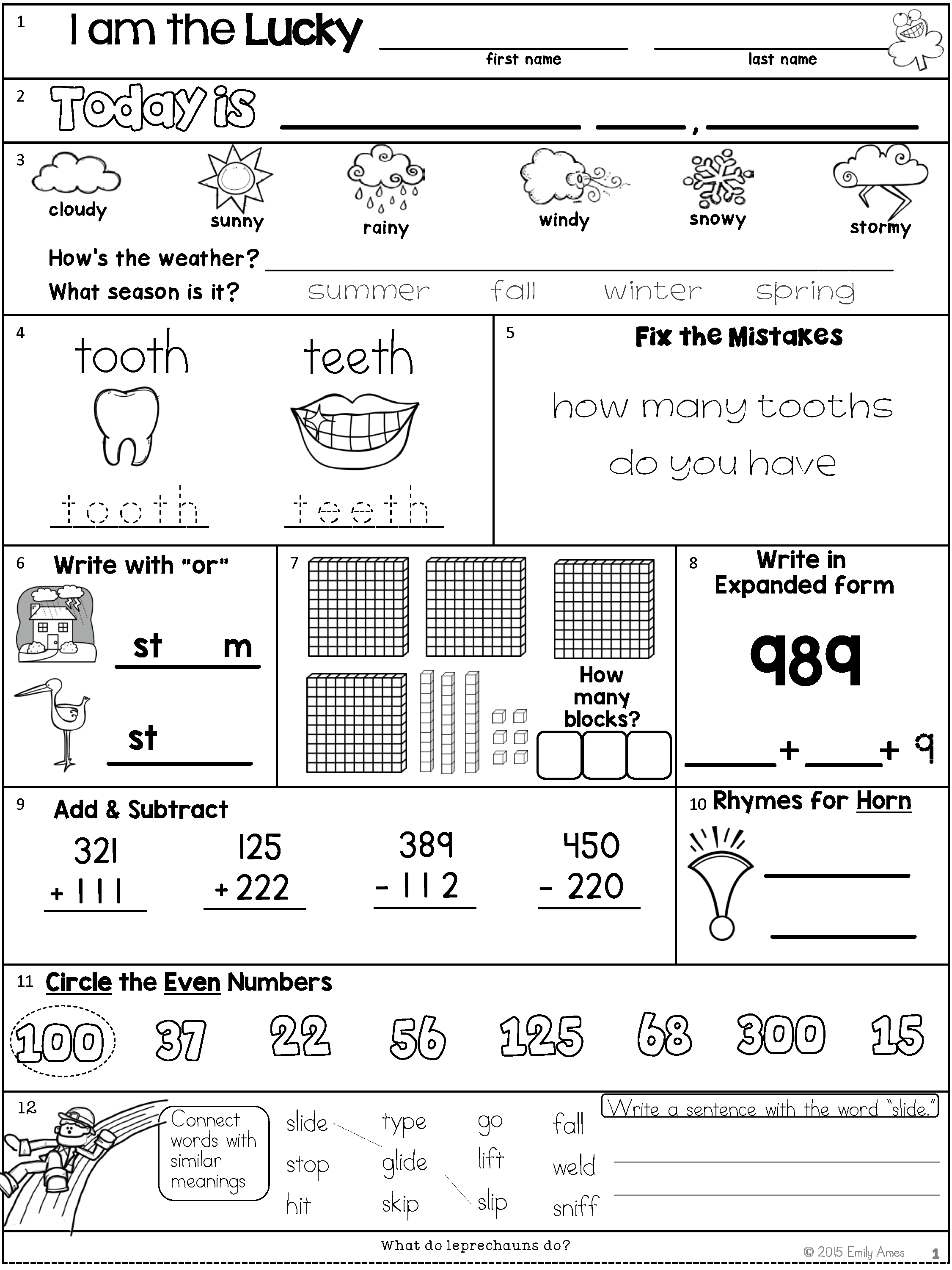March Second Grade Morning Work Odd And Even Numbers Base Ten Expanded Form Addition