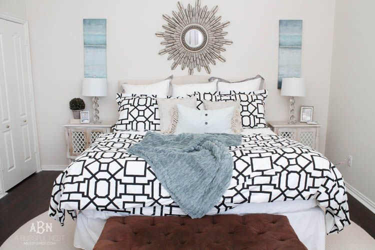 A gorgeous master bedroom reveal with a soft color palette and bold modern touches. Also a great review on gelfoam mattresses by A Blissful Nest. http://ablissfulnest.com/ #masterbedroom #bedroomideas #bedroomdecor