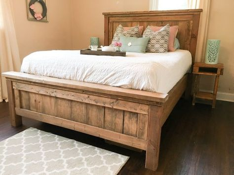 Rustic Farmhouse Bed - Rustic Furniture - Wooden Bed **Please contact us prior to ordering for custom shipping charge**