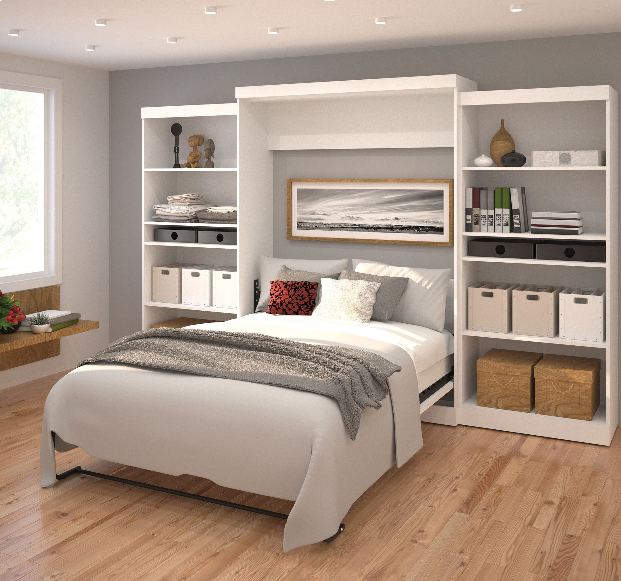 Best Bestar Queen Storage Murphy Bed Wayfair Murphy Beds 400 x 300