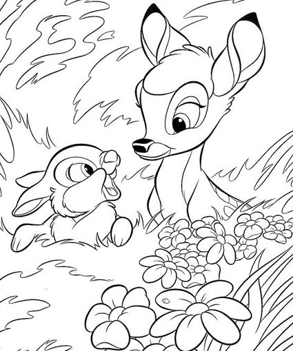 Bambi Coloring Pages Coloring For Adults Pinterest Coloring