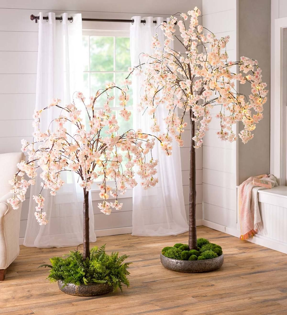 Our Indoor Outdoor Electric Lighted Faux Weeping Cherry Trees Add Cheerful Natural Style Anywhere W Weeping Cherry Tree Flowering Trees Pink And White Flowers