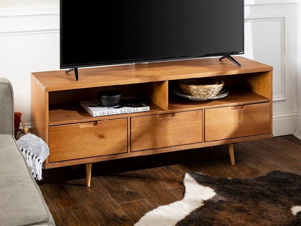 58 3 Drawer Mid Century Modern Tv Stand In Caramel Walker Edison W58iv3 In 2020 Mid Century Modern Tv Stand Modern Tv Stand Mid Century Modern Living Room Furniture