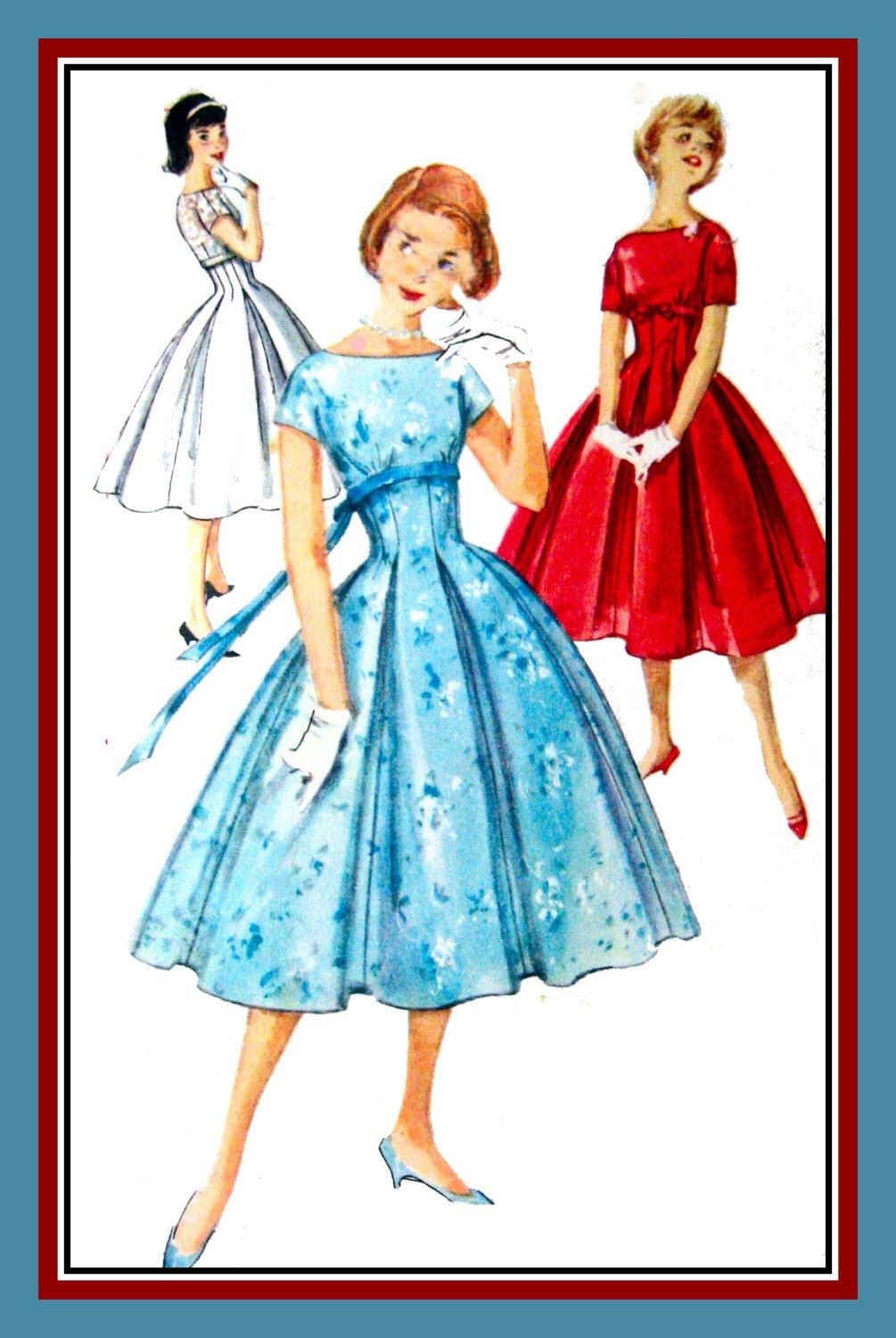 Vintage 1958-Darling Empire Waist Party Dress-Sewing Pattern-Three ...