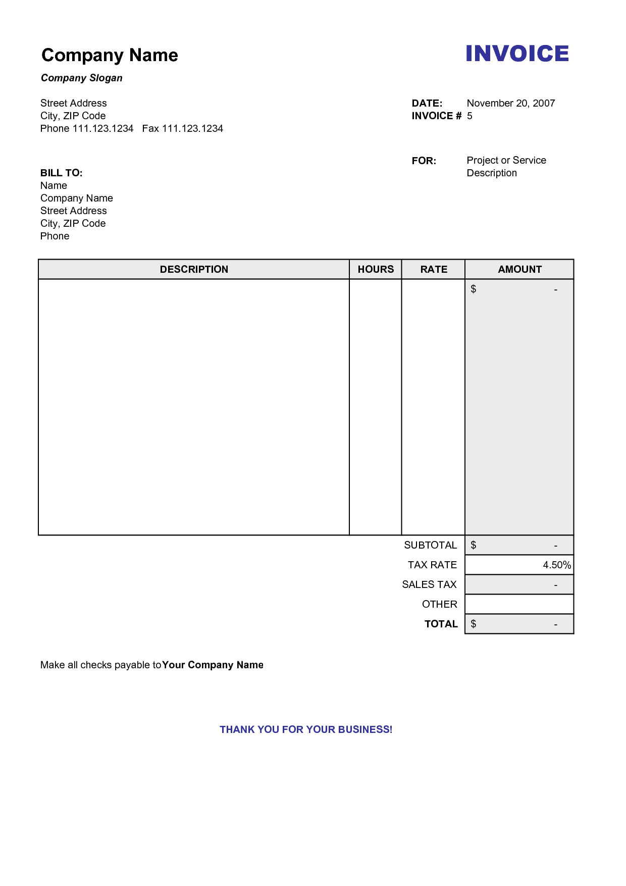 Blank Billing Invoice scope of work template