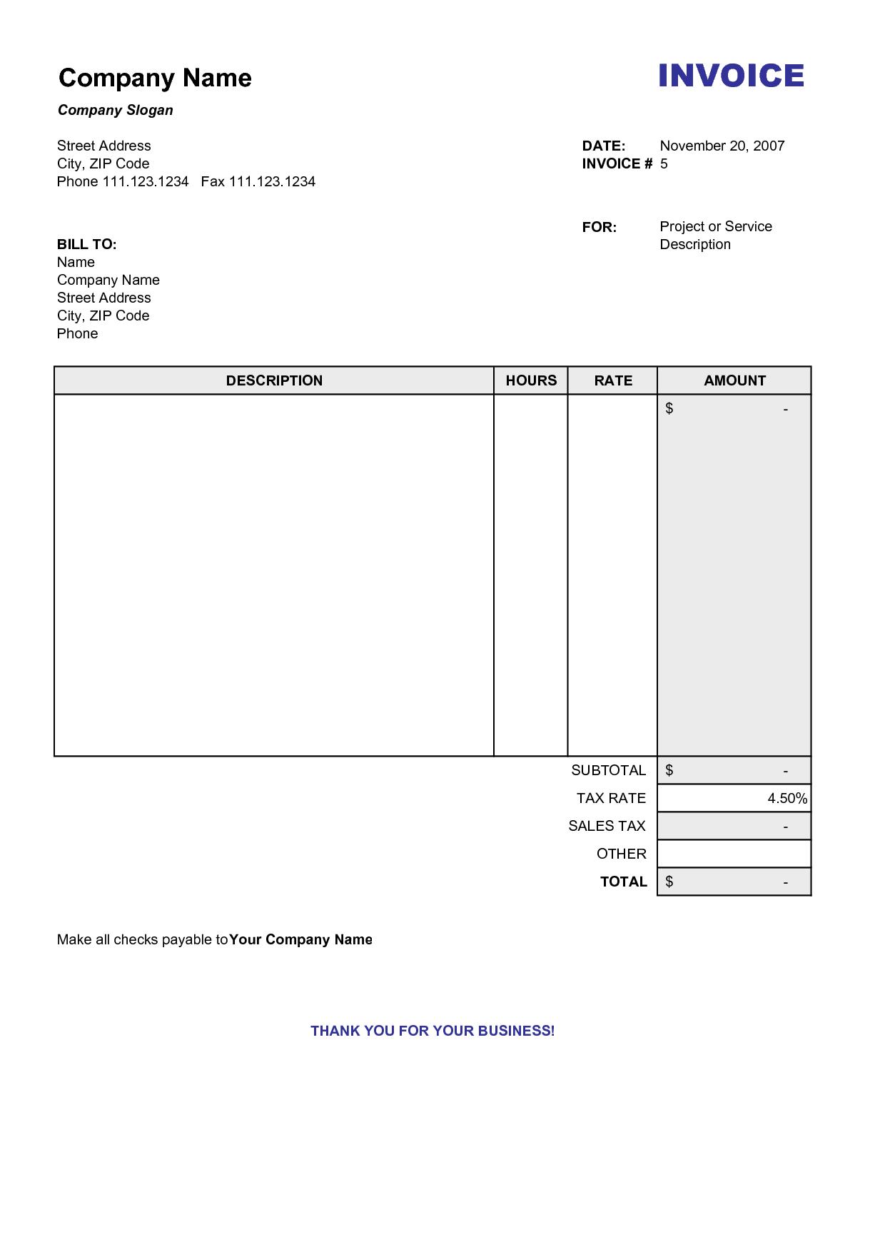 Blank Billing Invoice