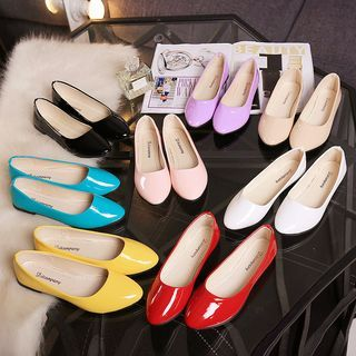 0094927174b5 Summer Women Candy Round Toe Flats Slip On Casual Patent Leather Shoes Work  Size Womens Flats