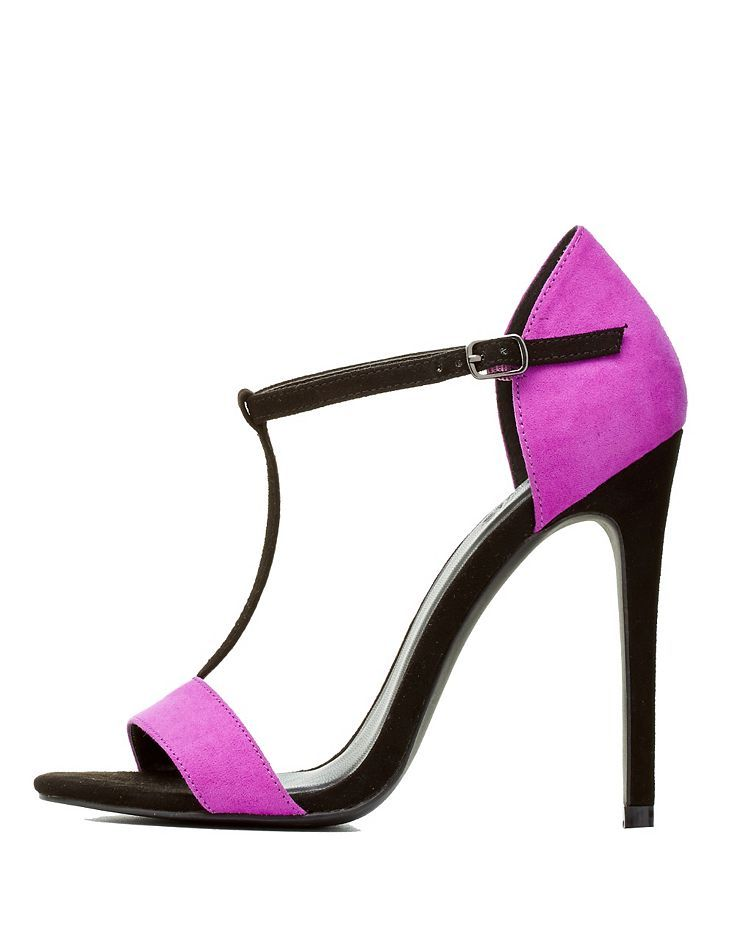 5bef5f6361c2 Black Combo Color Block T-Strap Dress Sandals by Charlotte Russe ...