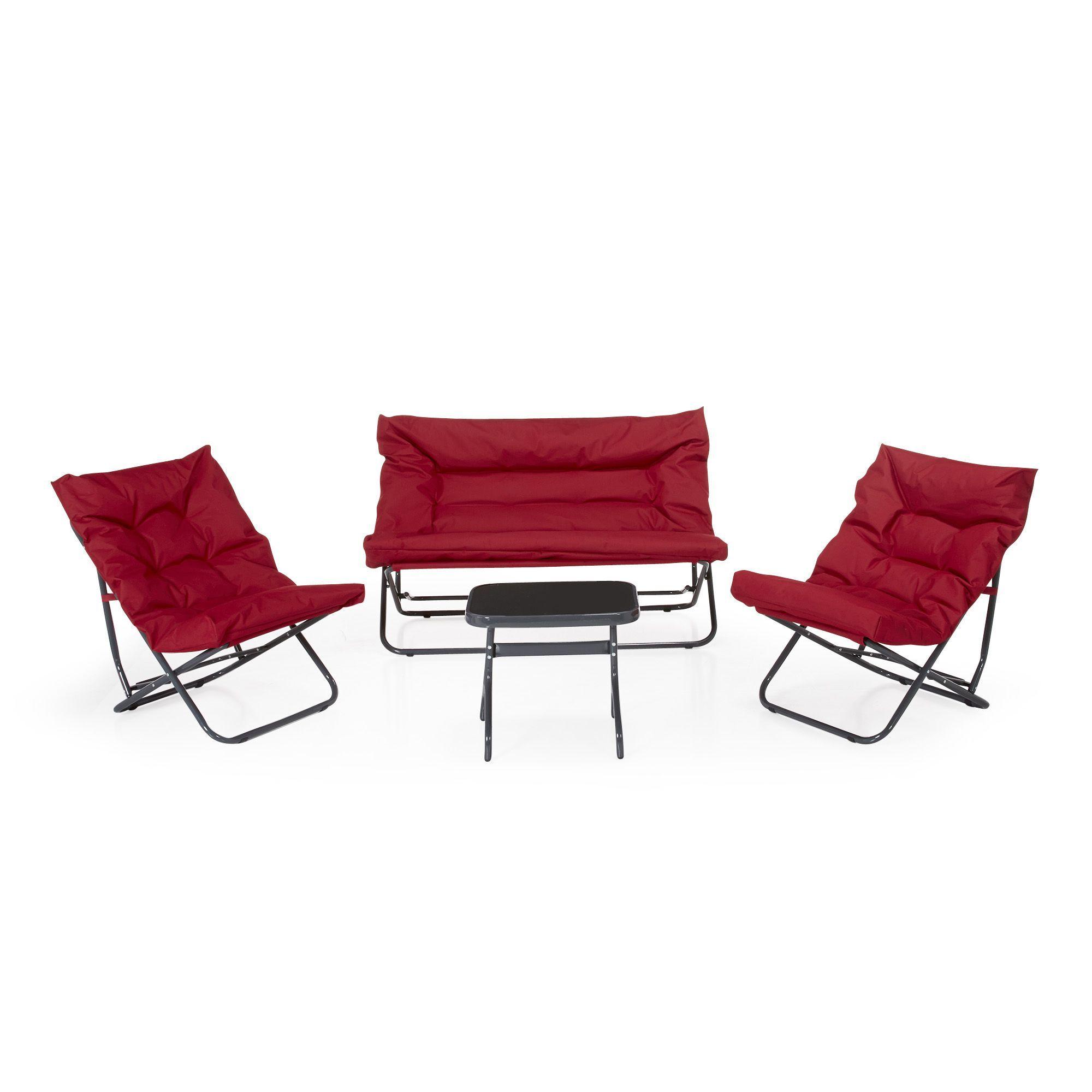 Salon de jardin 4 éléments rouge Rouge - Shrink - Salons de jardin ...