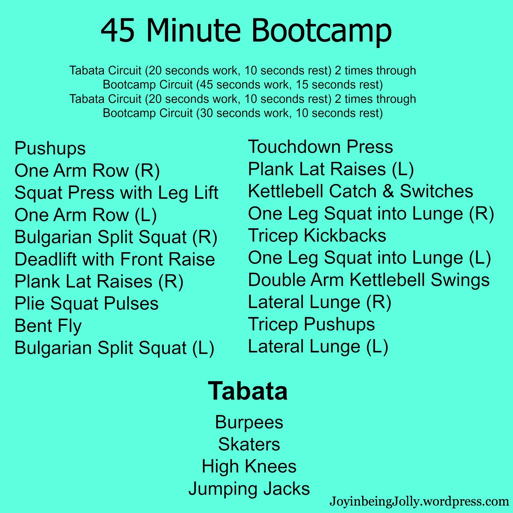 Printable Cardio Workouts: Bootcamp & Strength Workouts