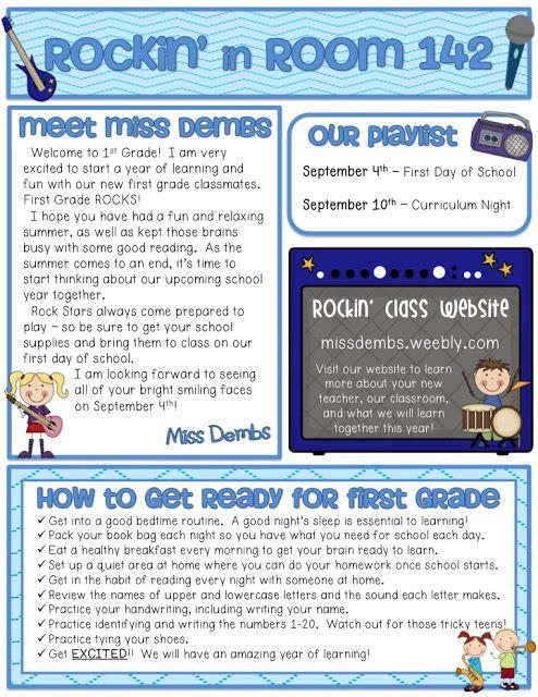 First Grade Newsletter Example Star Themed Classroom Curriculum