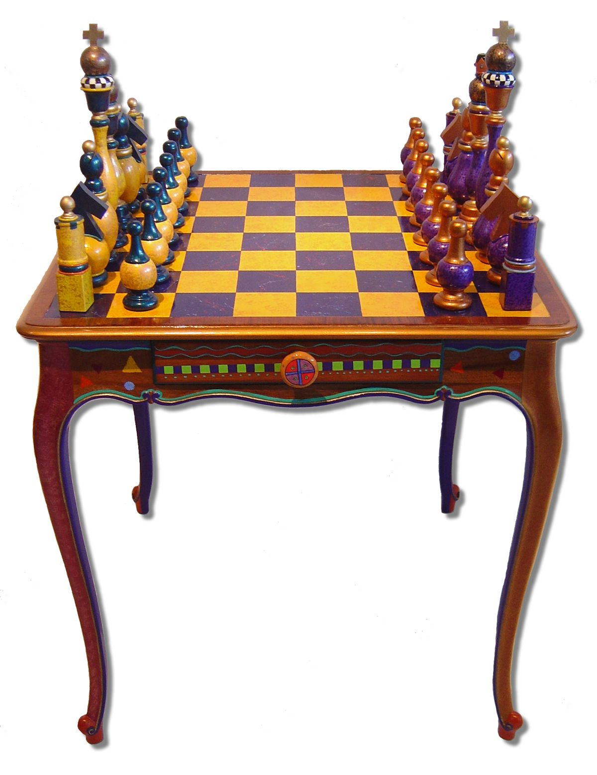 Game Table And Chess Pieces Hand Painted Furniture