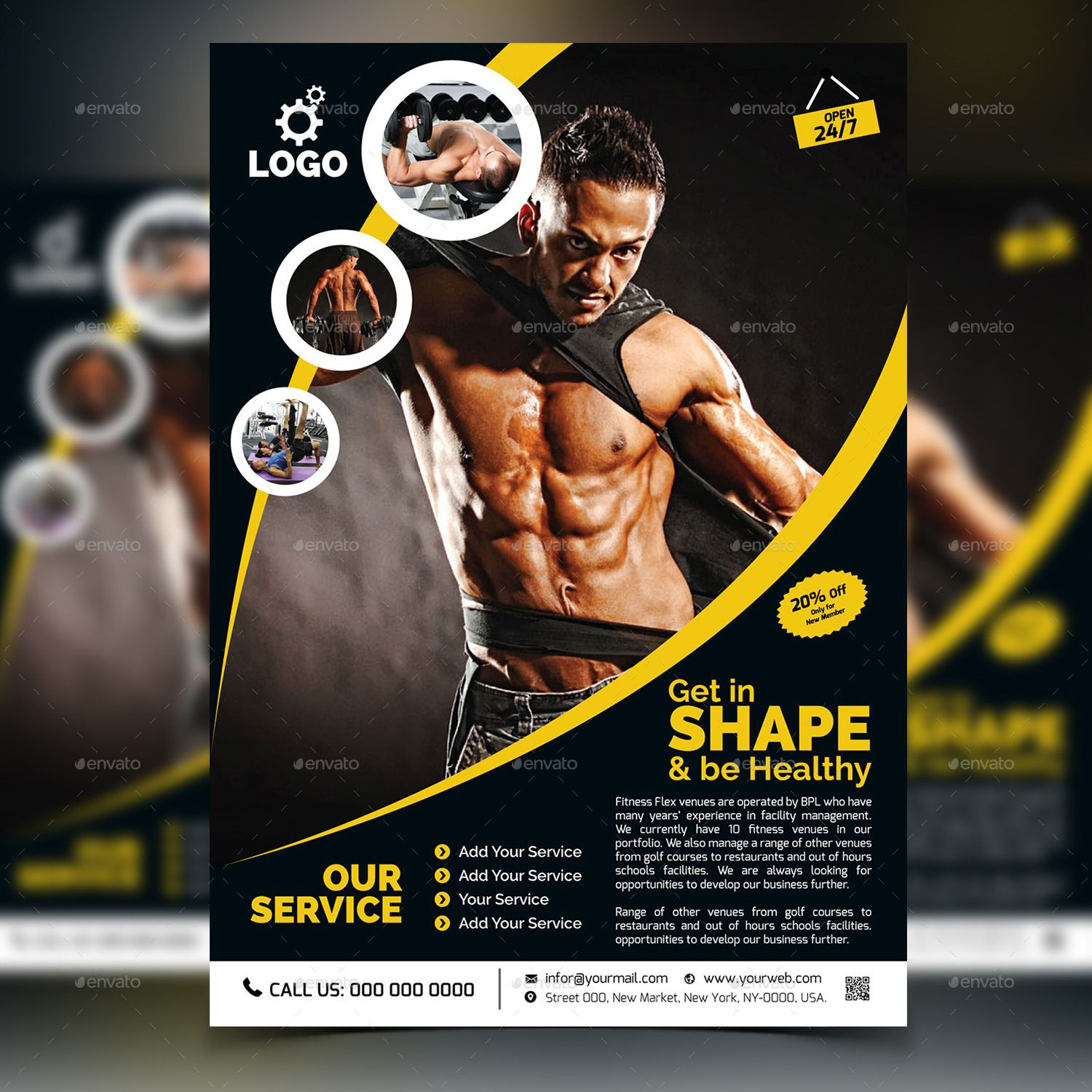 Fitness / Gym Flyer Template #Affiliate #Gym, #SPONSORED, #Fitness, #Template, #Flyer