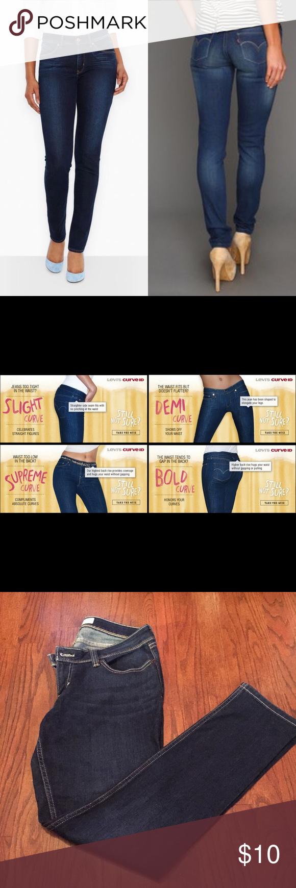Levi curve ID Demi curve Dark wash denim, EUC, size 13, 58% cotton,24% polyester, 7%viscose,1% spandex. Levi's Jeans Skinny