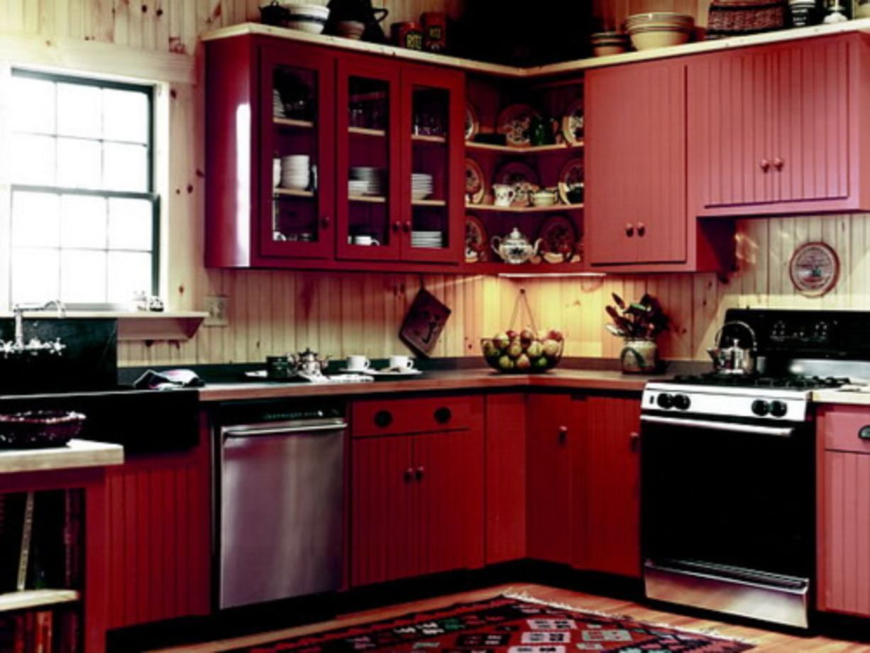 64 Amazing Black And Red Kitchen Decor Ideas Suitable For You Who Loves Cooking Roundecor Red Kitchen Decor Beautiful Kitchen Cabinets Diy Kitchen Renovation Red and black kitchen decorations