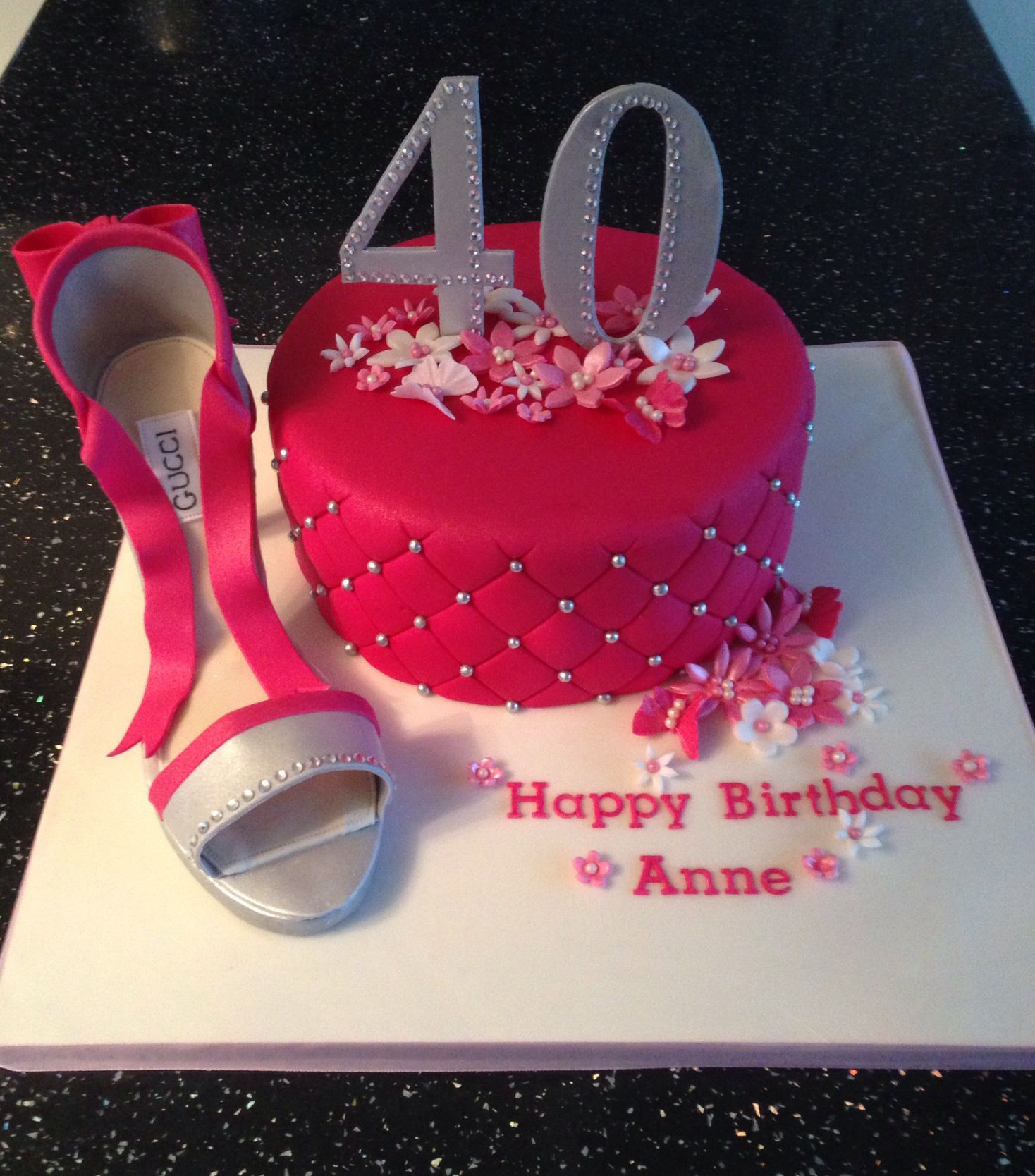 40th birthday cake with fondant shoe parties pinterest for 40th birthday cake decoration