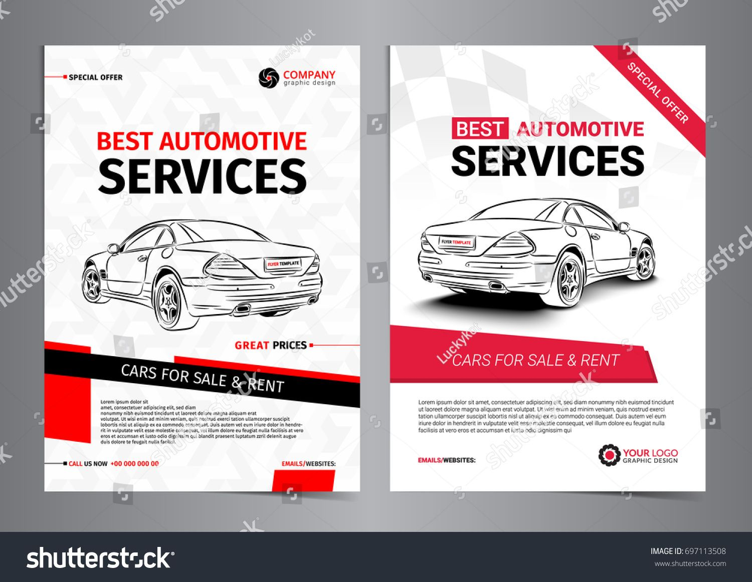 Set Of Automotive Services Layout Templates Cars For Sale Layout Template Cars For Sale Sale Flyer Car for sale sign template