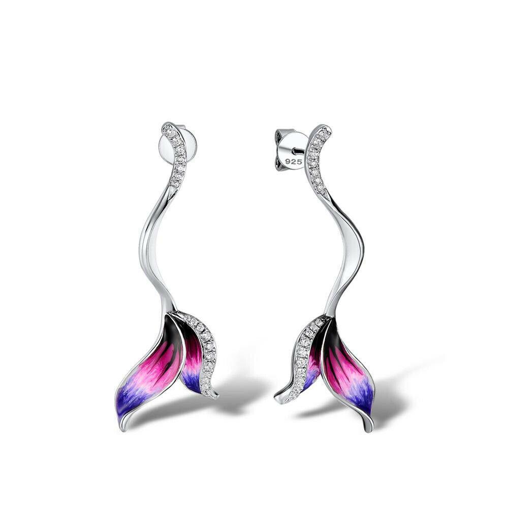 Unique Fishtail CZ 925 Silver Dangle Stud Earrings Women Wedding Jewelry Gifts US $845.06