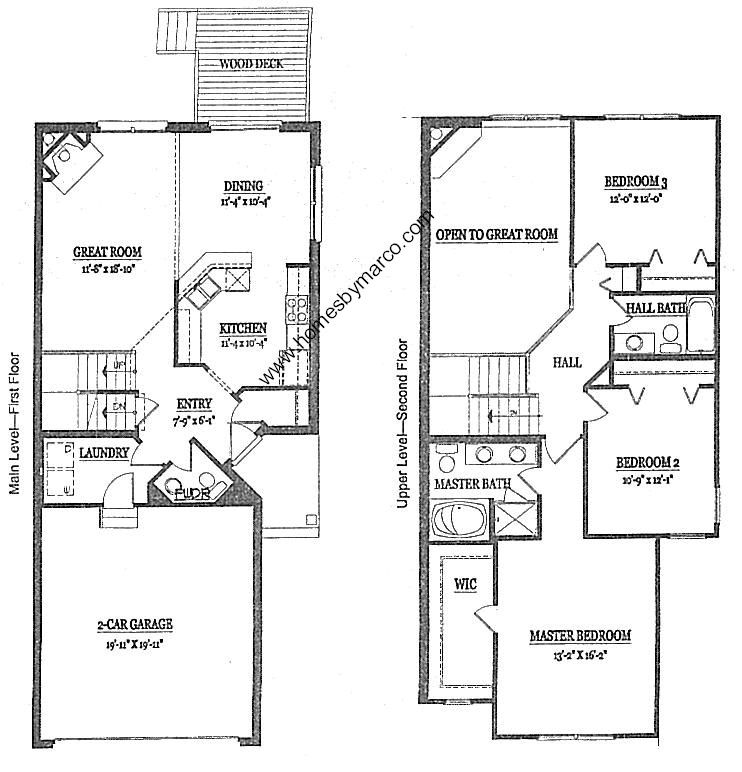 Large townhouse plans ashford model in presidents manor for Two story condo floor plans