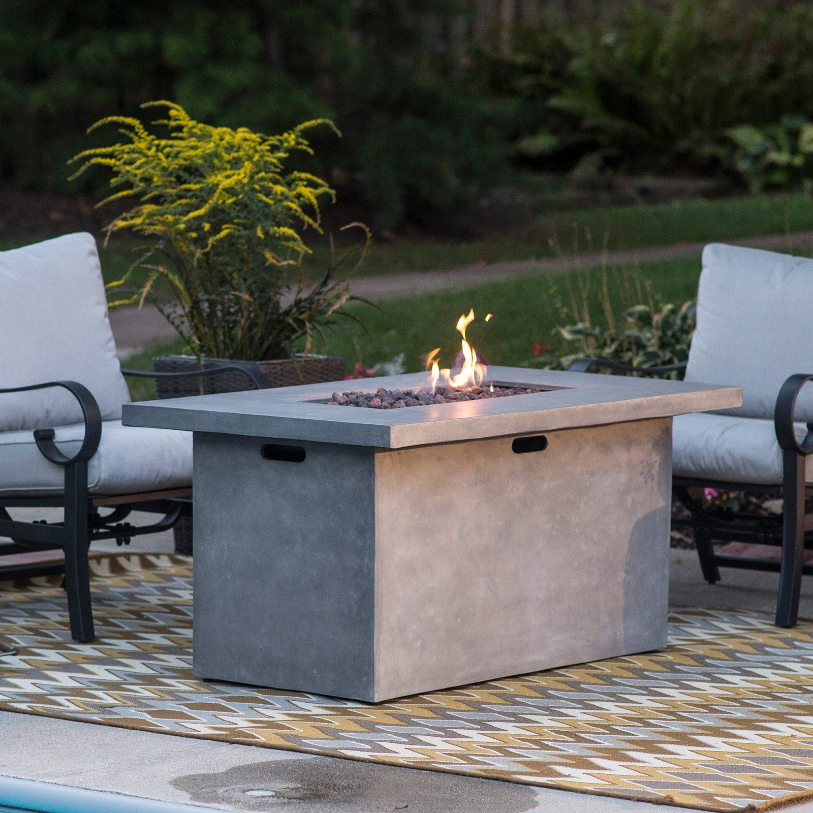 red ember 52 in whitesands rectangle fire pit with free burner