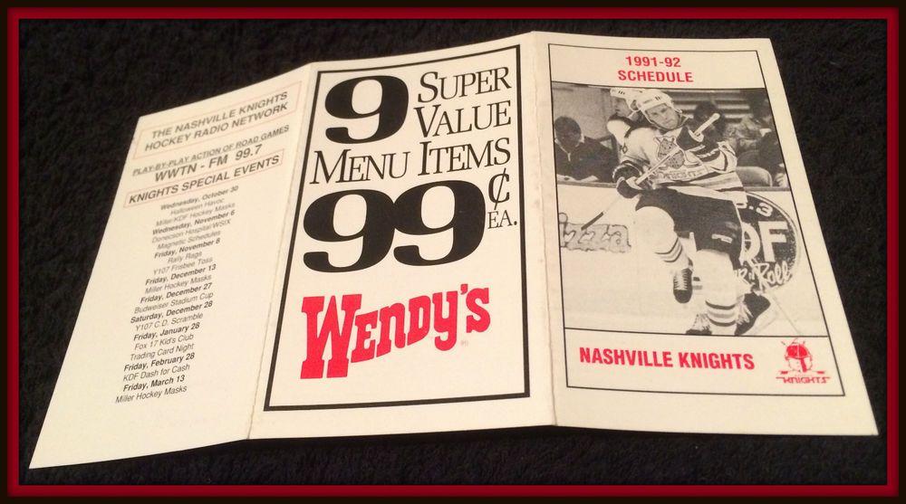 199192 nashville knights wendys hockey pocket schedule ex