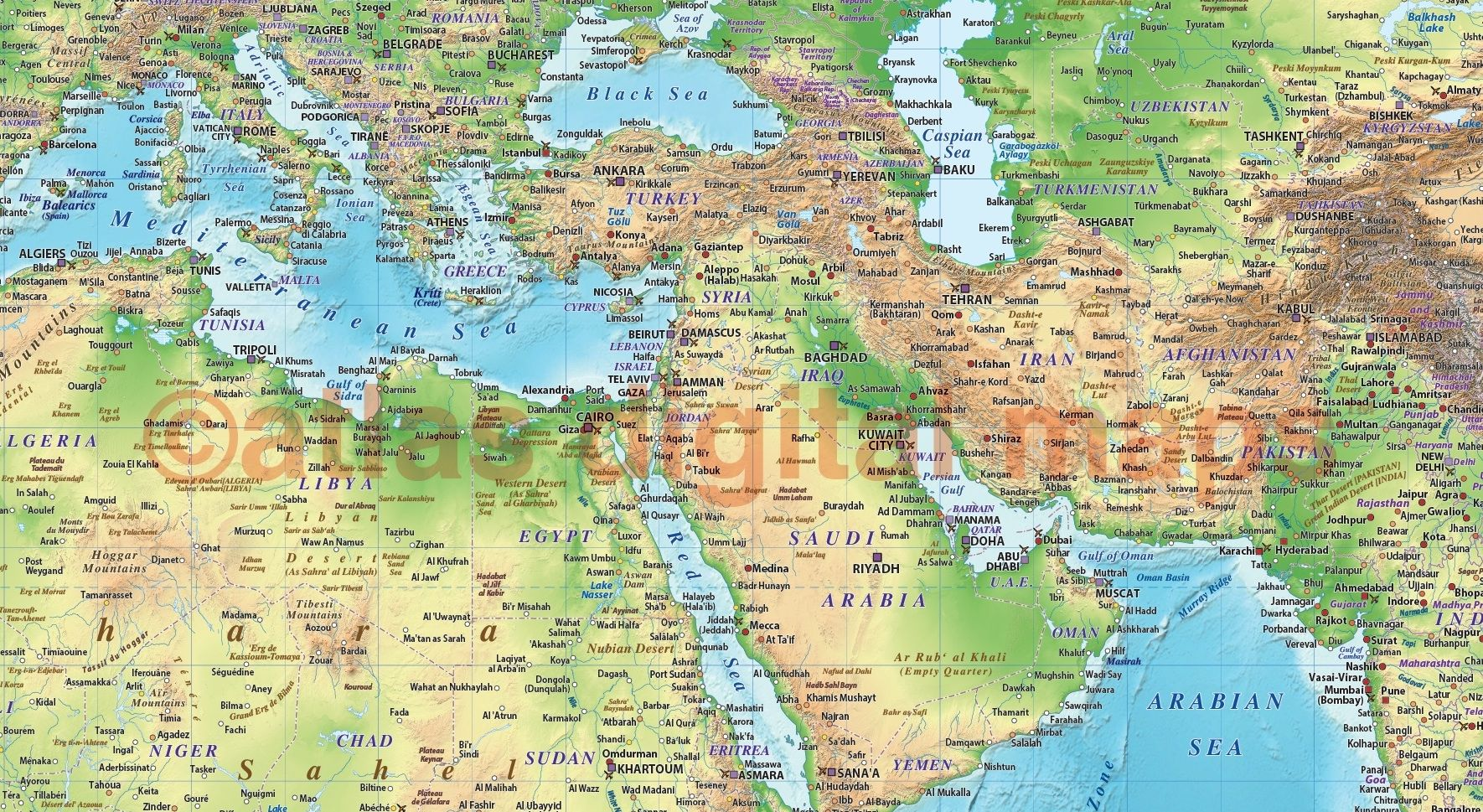 Land and sea relief map of north africa and the middle east in green land and sea relief map of north africa and the middle east in green and blue gumiabroncs Image collections