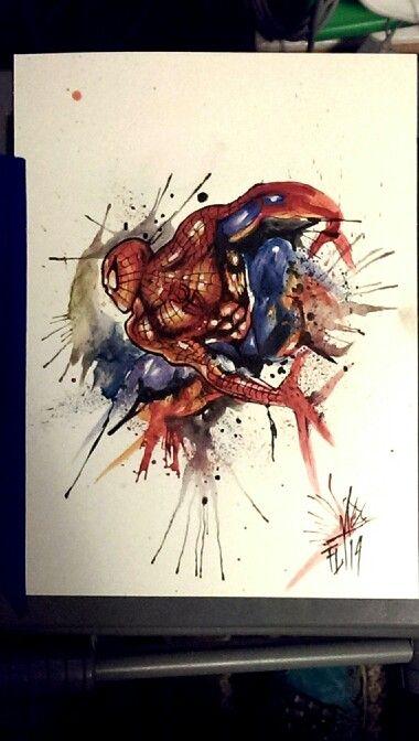 Spiderman in watercolor