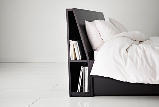 Oppdal Headboard With Storage Compartment Black Brown Queen