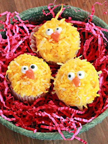 Kids are sure to love these Easter chick cupcakes, which are decorated with coconut flakes dyed in yellow food coloring and Wilton Candy Eyeballs.