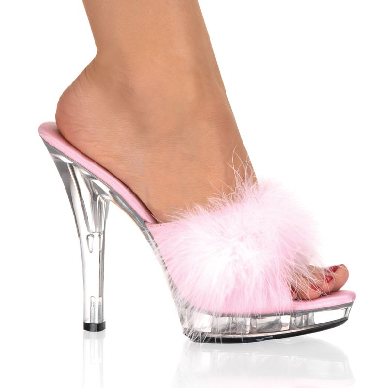 pink and white slipper heeled shoes | ... :: LIP-101-8 Sexy Five ...