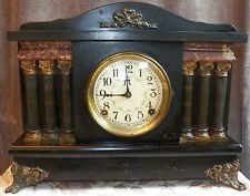 Antique Sessions 6 Pillar 8 Day Column Mantle Clock with