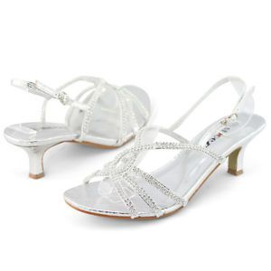 Shoezy Womens Glitter Silver Diamantes Strappy Low Heel Sandals Shoes Size Uk 4 Wedding Shoes Heels Silver Wedding Shoes Silver Kitten Heels