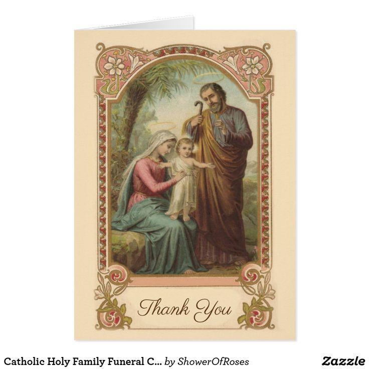 Catholic holy family funeral condolence thank you zazzle