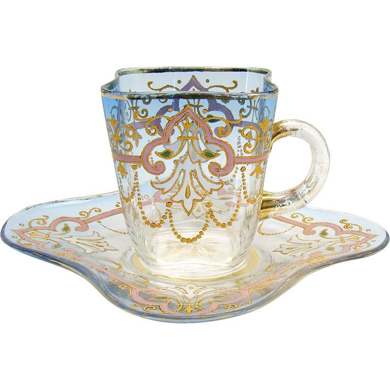 Hand Enameled Glass Cup And Saucer Clear To Blue Ebay Glass Tea Cups Tea Cups Glass Cup